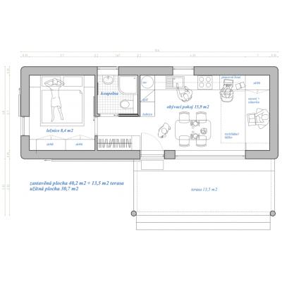 Moduláris ház 2 szobás