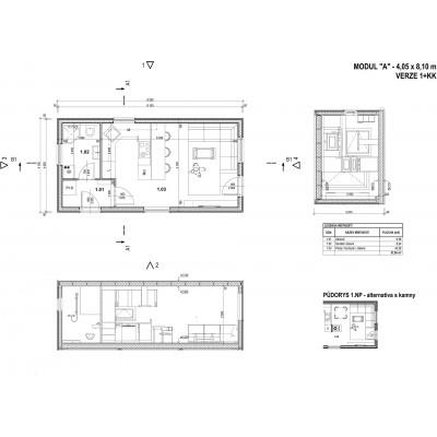 Moduláris ház 1 szobás- terv megtekintése
